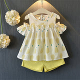 Girls Clothes Set Summer Brown Shirt & Overall 2 pcs Children Clothing Set Fashion Kids Girl Outfits Clothes Cute Sets