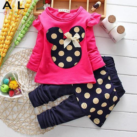 Girls Clothes Sets Childrens Cartoon . Long Sleeve T-shirt + Pants Kids Clothing Leisure Suit Dot Flowers Floral Hoodies