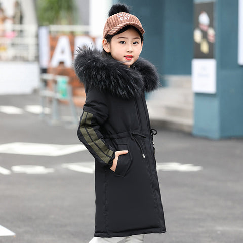 Girls Down Jacket Winter Thick 2018 Brand Fashion Long Warm Co for Children Hooded Outerwe for Big Girl Clothing 8 10 14