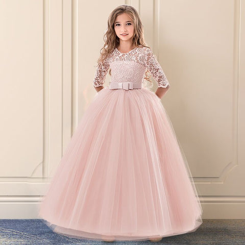 Girls Dress For Exquisite Communion Pink Long Lace Tulle Wedding Dresses Teens Kids Graduation Costume Girl Childrens Clothing