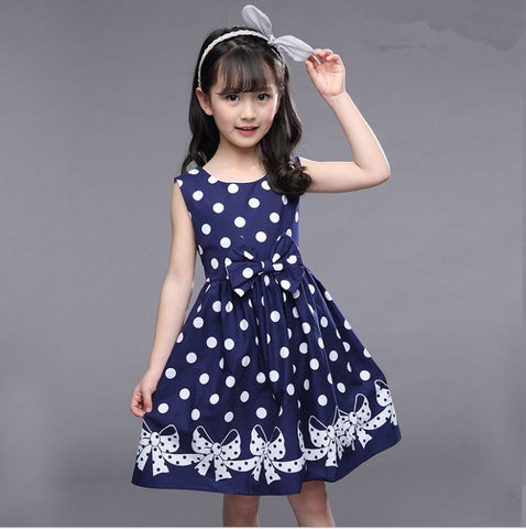 Girls Dresses Sleeveless Polka Dot Dresses For Party And Wedding Cartoon Bow Kids Sundress 2 3 5 7 9 10 11 12 Years A-Line Dress
