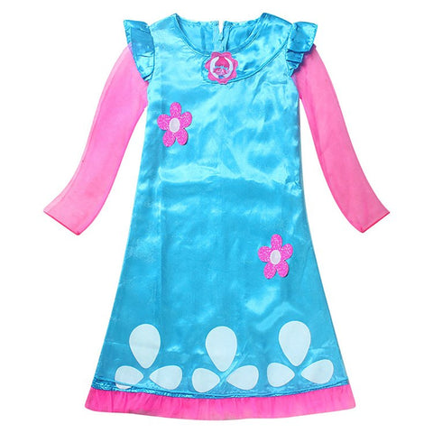 Girls Dresses Trolls Poppy Cosplay Costume Dress For Girl Poppy Dress Streetwear Halloween Clothes Kids Fancy Dresses Trolls Wig