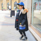 Girls Dwon Co Brand New Children Cold Winter down Girls Thickening Warm Down Jackets Boys long Big Fur Hooded Outerwe Coats