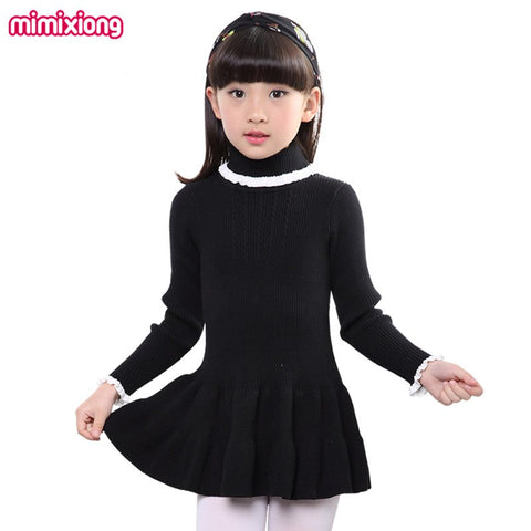 16a6aa7cf0 Girls Knit Sweater Dress Pink Turtlenecks Toddler Infant Pleated Dresses  Long Sleeves Kids A-line Mini Dress Children s Clothing