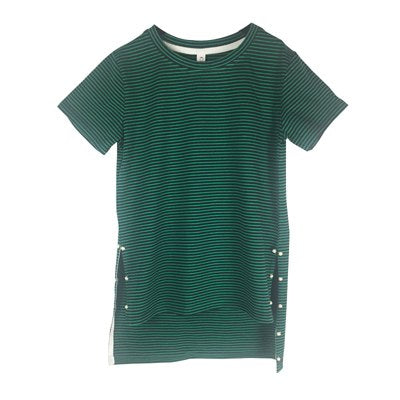 Girls Long T Shirt Summer Striped Tops 2018 Short Sleeves Tee Tshirt For Girls Fashion Dress Beads Basic Cotton Tees RED / GREEN