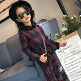 Girls New Spring Fashion England Plaid Shirt Long Sleeve Pants Kids Sets Children Set 4-12 Ages Green and Red Color