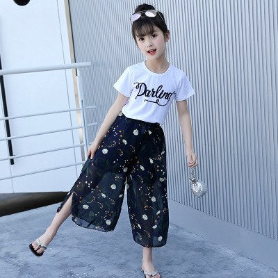 ce7c356e987 Girls Set Clothes Kids Two Piece Children Summer Suit T-Shirt Chiffon Broad  Legged Pants Outfits 7 8 9 10 11 12 13 14 Years