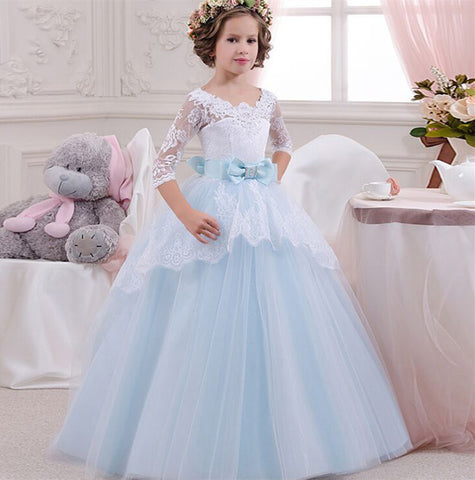 Girls Wedding Formal Dress Elegant Long Prom Dresses For Children Princess Girls Party Pageant V-backless Gowns Age For 6-14Y