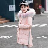 Girls Winter Down Jacket Fur Coll Co Clothes Kids Warm Down Coats For Girls Children Winter Thick Parkas 4-12 Years