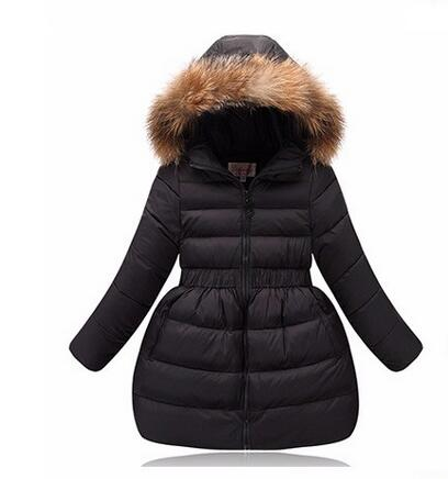 Girls Winter coats 017 Children Fur Hooded Thick Warm girl jacket Parka Outerwe Teenage Coats Ski Jumpsuit Kids doudoune fille