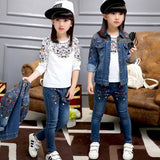 Girls clothing sets autumn Children Denim Coats and Pants Kids Floral T-shirt Teenage Turn-down Coll Tops and Jeans Trousers