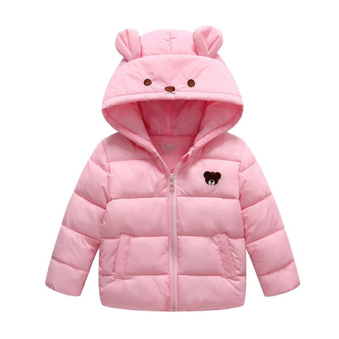 Girls winter warm coats children carton thick hoodies down parkas for baby girls kids casual warm jacket child clothes outwear