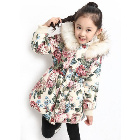 Winter Jackets for Girls Kids Fashion Floral Printed Girl Parka Coats Thick Fleece Warm Girl's Jacket 4T-16T, JC244