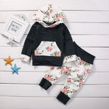 Gray Black 2pcs Toddler Infant Baby Boy Girl Clothes Set Floral hooded sweater trouser Hoodie Tops+Pants Outfits