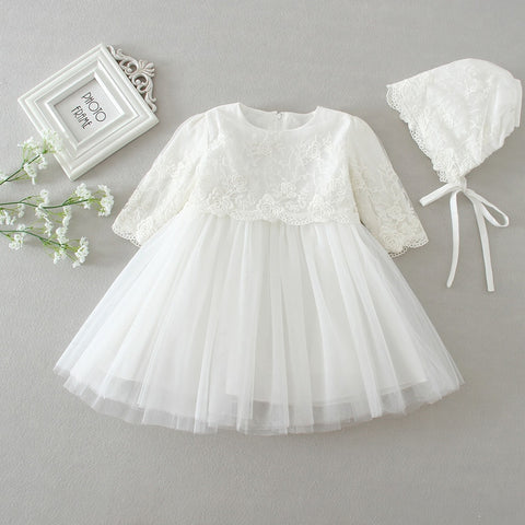 Long-sleeve Baby Christening Dress for Baby Girl Baptism Baby Dress Birthday Baby Girl Dress Princess and Wedding