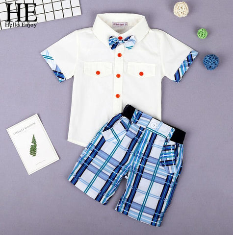 05bac70a3 Boys Boutique Clothing Fashion Baby Boy Clothes Summer Set Gentleman Print  Floral Bow Tie Shirt+Shorts Suits Kids