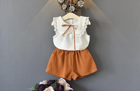 Toddler Clothes Sleeveless Lace Bow Tops+Shorts Outfits Summer Clothing 2018 Kids Girls Clothes Set Outfit