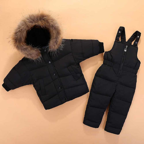 2018 New Children Clothing Set Jumpsuit Snow Jacket+bib Pant 2pcs Set Baby Boy Girls Duck Down Jacket Co Fur Hood 0-3A