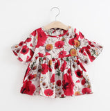 2018 Summer Baby Girls Dress Cotton Infant Dress Flowers Casual Style Child Kids Princess Beach Dress