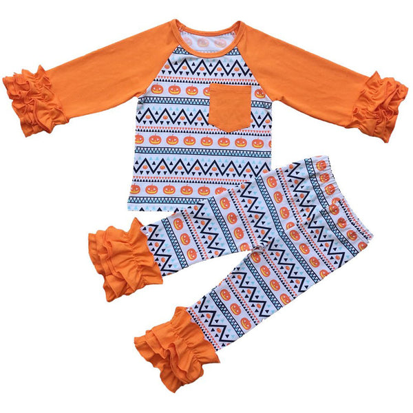 bf63a31408034 Halloween Kids girls clothes sets Pumpkin printing Girls t-shirts coll –  ToysZoom