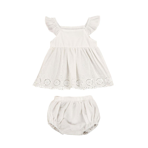 Helen115 2Pcs Newborn Baby Girls Clothes Cotton White Dress Shorts Pants Outfits 0-24Months