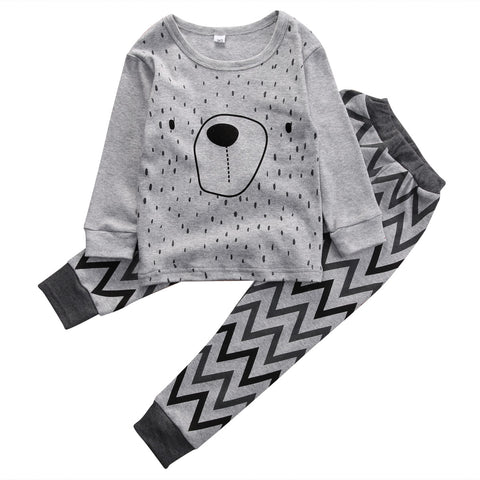 Hi Hi Baby Store Kids Boy Girl 2pcs Outfit Clothes Pajamas Set Homewear Baby Tops Pants Cotton Clothing
