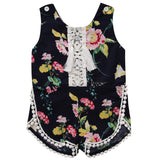 Hi Hi Baby Store Newborn Kids Baby Girls Lace Floral Print Cotton One-pieces sleeveless Romper