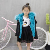 High Quality Kids Coats Boys Girls Thick Warm Winter Baby Padded Jacket Hooded Rabbit Fur Children Clothing Kids Outwear
