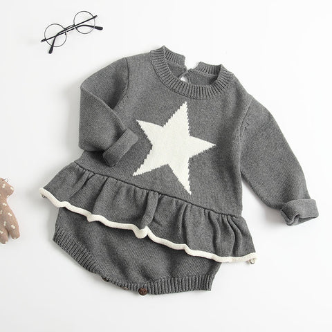 High quality 2018 autumn and winter models baby girl knitted onesies baby love stars long sleeves skirt 3-6-9 month clothes