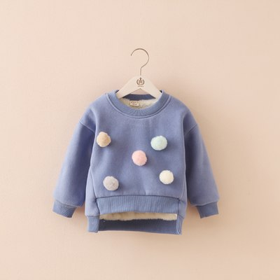 Hot 2018 Fall Winter Little Kids Cute Velvet Warm Sweater With Removable Balls Boys Girls Fashion Thickening Pullover Co G309