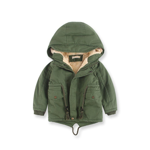 Hot European Winter Windbreaker For Boy Loose Warm Cotton Coats Boys Cap Thick Jacket Green Zipper Childrens Jackets 3-10 Years