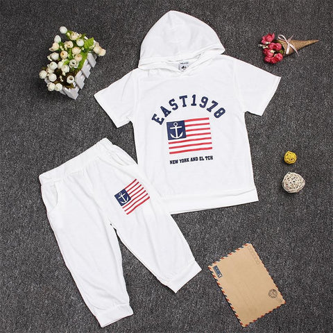 Hot New 2018 summer girls boys letter print children clothing set baby clothes short-sleeve T-shirt hoodies pant kids sport suit