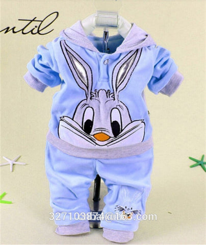 Hot Sale 2018 Autumn Baby Boys and Girls Sets Velvet Rabbit Cartoon Print Hoodie and Pant Twinset Long Sleeve Velour Clothing