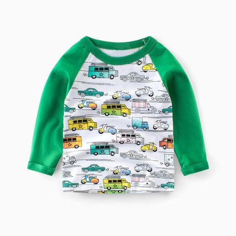 Hot Sale 4 color Toddler Boys Cartoon C Pattern Long Sleeve T-Shirt Tops Boy Patchwork Shirt Pullover Tee Tops Outfit Clothes