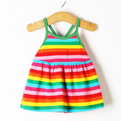 Hot Sale Summer New Girl Dress Sleeveless Harness Dress Baby Girls Clothes Rainbow Striped Dresses Vestido Infantil Kids Clothes