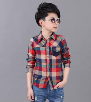 Hot Sale autumn winter Long Sleeve Baby boy shirts Clothes Scho Boys Shirts Turn-down Coll Green/red Boy Shirt clothes