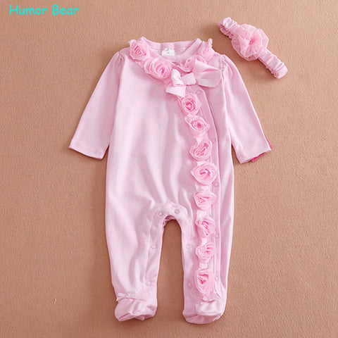fc364ead121e NEW Newborn Baby Girl Clothes Bow Flowers Romper Clothing Set Jumpsuit    Headband 2 PC Cute Infant Cirls Rompers