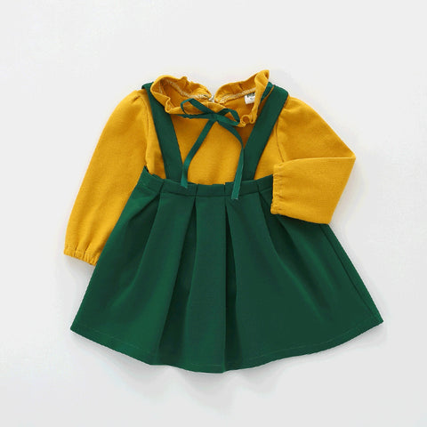 2018 Autumn Baby Girls Clothes Children ruffles collar full Sleeve shirts + suspender skirts suits Frill boutique outfits