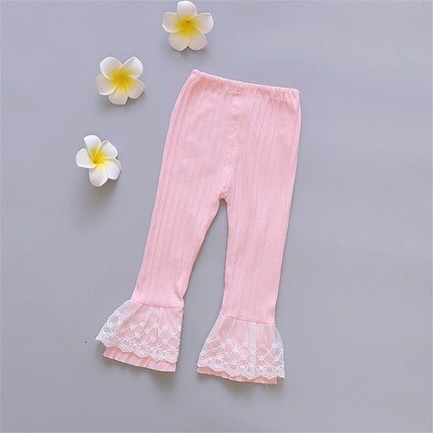 Retail New Spring Autumn Girls Leggings Fashion Pink White Lace Princess Long Pants Children Cotton Trousers Kids Clothes