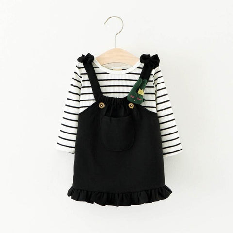 girls boutique outfits Stripe T-shirt girls Top+Skirt Dress Girls Clothing for babies overalls children's winter