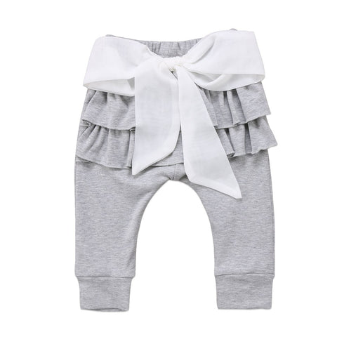 Infant Baby Girl Pants Ruffle Bow Solid Pink Gray Kid Long Trousers Bowknot Pants Casual Bottoms
