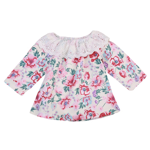 Infant Newborn Baby Girls Cotton Lace Shirt Tops Cute Floral Long Sleeve Loose Outfits Clothes Xmas Gifts