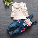 Infant baby girls pink c children jeans trousers clothing sets cartoon tops t shirt denim blet pants sport suit kids tracksuit