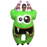 Inflatable Swamp Monster Costume Scary Green Mouth Monster Deluxe Costume for Children Adult Halloween Cosplay Outfit for Boys