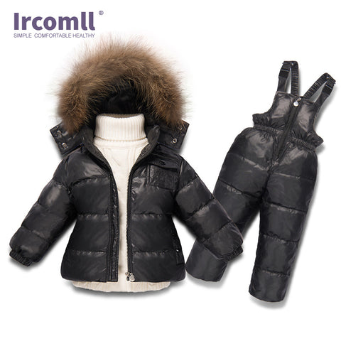 Russia Winter Boys Girls Clothing Set Infant White Duck Down Coat+Overalls 2PC Children Snow We Windproof Ski Suit