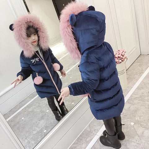 Children's clothing girls winter thick cotton jacket 2018 new fashion gold velvet solid color children's clothing MF-181