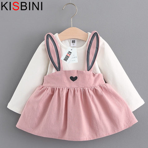 Baby Dress Long Sleeve Girl Dress 2018 New Autumn Fashion Style Children Clothing Cotton Infant Kids Clothes Cute Rabbit