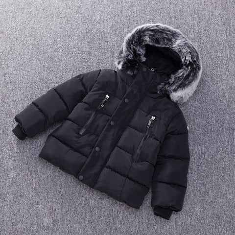 8a84011f7 Kids Thick Cotton Jacket Boys Girls Winter Padded Co Warm Fur Hooded ...