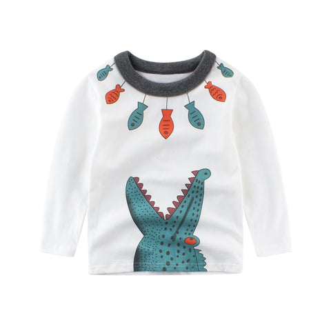 Kids Boys Autumn Casual Green Printed Cartoon Dinosaur&Fish Long Sleeve Tops 2-10Y M1 M1