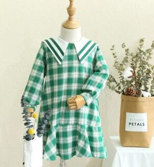 Kids 2018 autumn small fresh College Wind female baby girls dress doll coll long-sleeved plaid dress